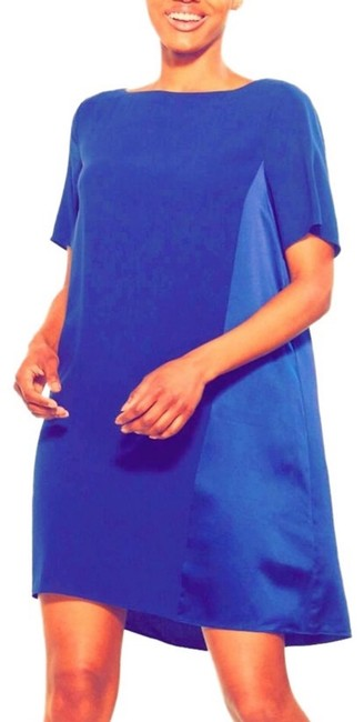 Item - Royal Blue Shift with Tonal Pattern In Silk Georgette Crepe Mid-length Short Casual Dress Size 10 (M)