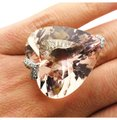 Other 18k White 22.3g Gold With Heart Shape Morganite & Diamonds Ring Sz 7.5 #18KW09