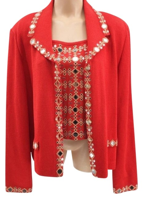 Item - Evening Marie Gray Red Silver Top