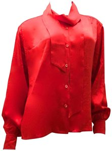 Céline Silk Vintage 1980's Top Red