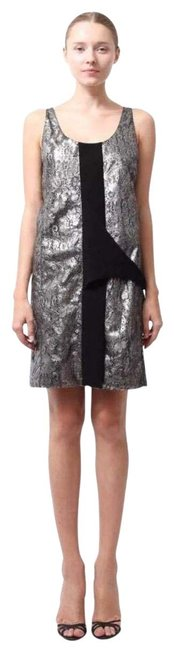 Item - Silver Metallic Lace Shift Sheath Short Formal Dress Size 4 (S)
