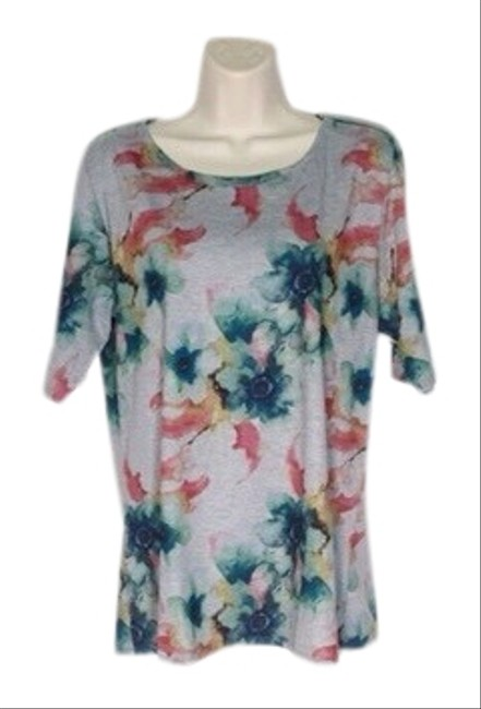 Item - Grey Teal Pink Floral Print Simply Comfortable Tee Shirt Size 22 (Plus 2x)