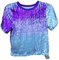 Unknown Sequins Bling Sparkle Halloween Stretchy Top Silver & Purple