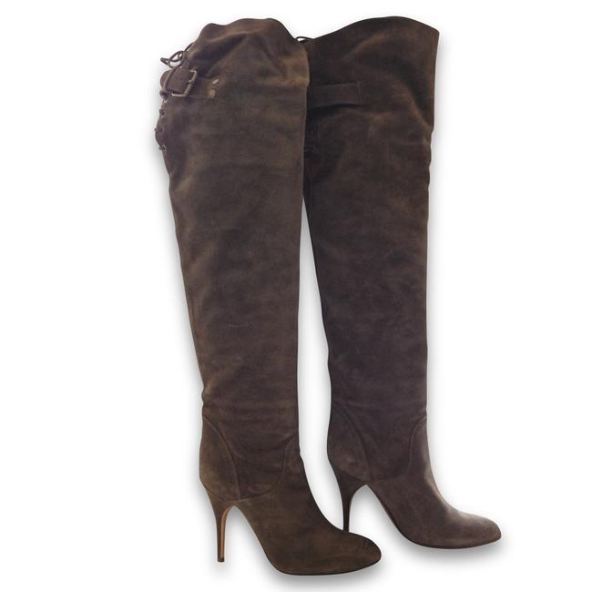 Item - Olive Green Suede Lace Up Back Over The Knee Boots/Booties Size EU 36.5 (Approx. US 6.5) Regular (M, B)