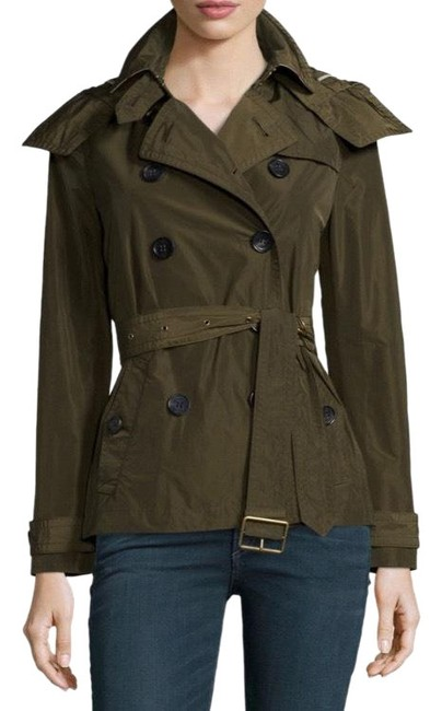 Item - Olive Army Green Balmoral Cropped Trench Coat with Hood Check Lining Jacket Size 12 (L)