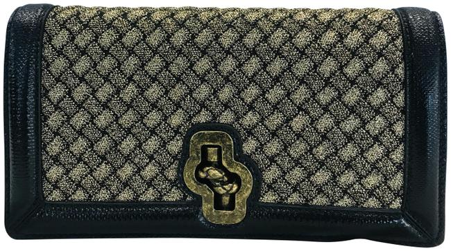 Item - Metallic Woven Olimpia Knot Gold Leather Clutch