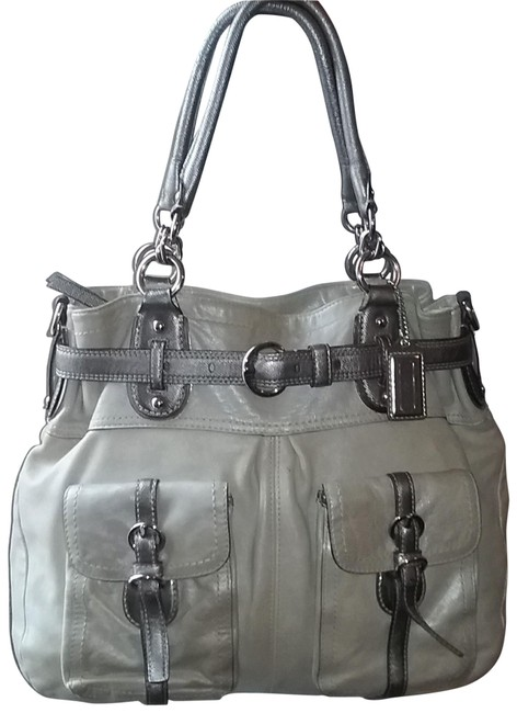 Item - XL 13184 Limited Edt. Legacy Belted N/S Ivory & Grey Metallic Leather Tote