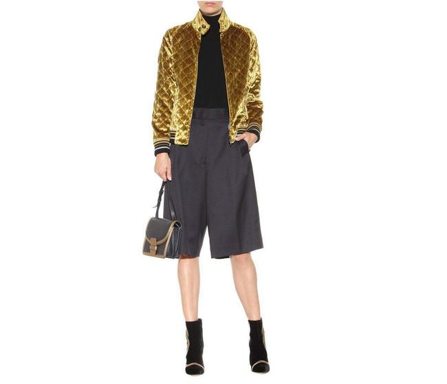 Item - Gold Quilted Bomber Jacket Size 6 (S)