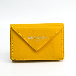 Balenciaga Balenciaga Paper Mini Wallet 391446 Women's Leather Wallet (tri-fold) Yellow