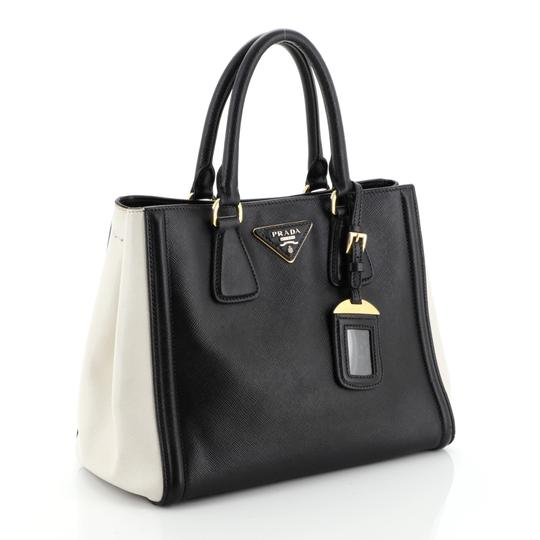 Prada Open Leather Tote in White and Black Image 1