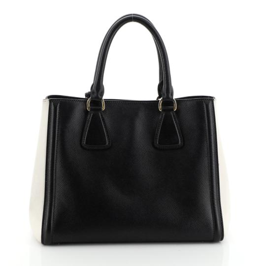 Prada Open Leather Tote in White and Black Image 2