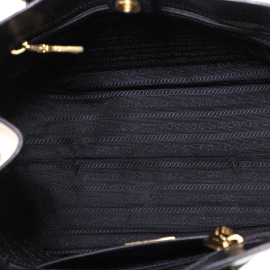 Prada Open Leather Tote in White and Black Image 4