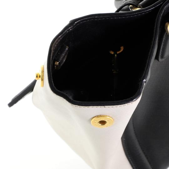 Prada Open Leather Tote in White and Black Image 5