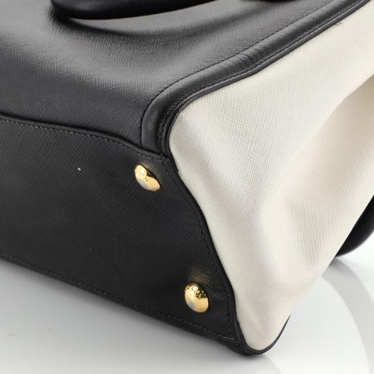 Prada Open Leather Tote in White and Black Image 6