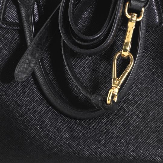 Prada Open Leather Tote in White and Black Image 7