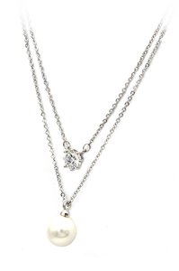 Ocean Fashion Silver exquisite double-chain crystal pearl necklace