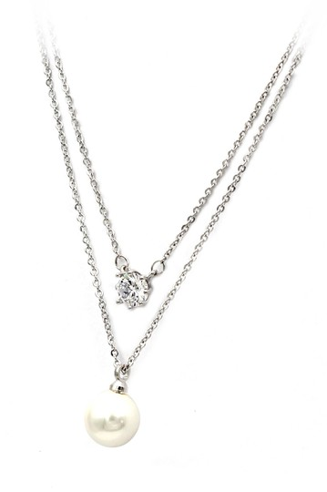 Preload https://img-static.tradesy.com/item/26229394/silver-exquisite-double-chain-crystal-pearl-necklace-0-0-540-540.jpg