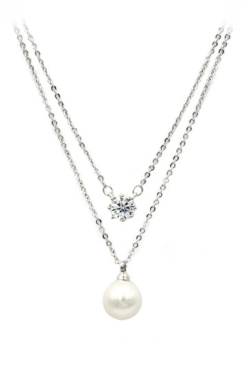 Ocean Fashion Silver exquisite double-chain crystal pearl necklace Image 1