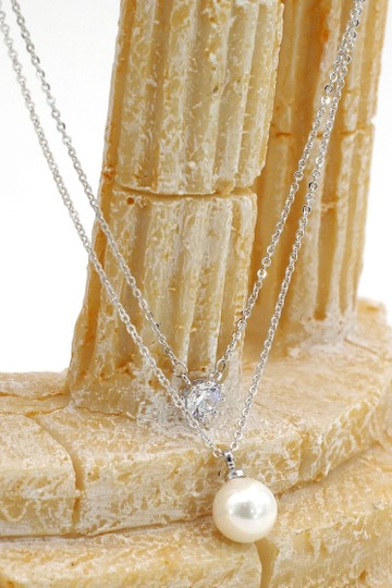 Ocean Fashion Silver exquisite double-chain crystal pearl necklace Image 3
