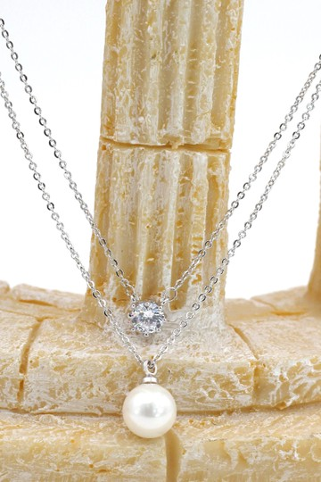 Ocean Fashion Silver exquisite double-chain crystal pearl necklace Image 4