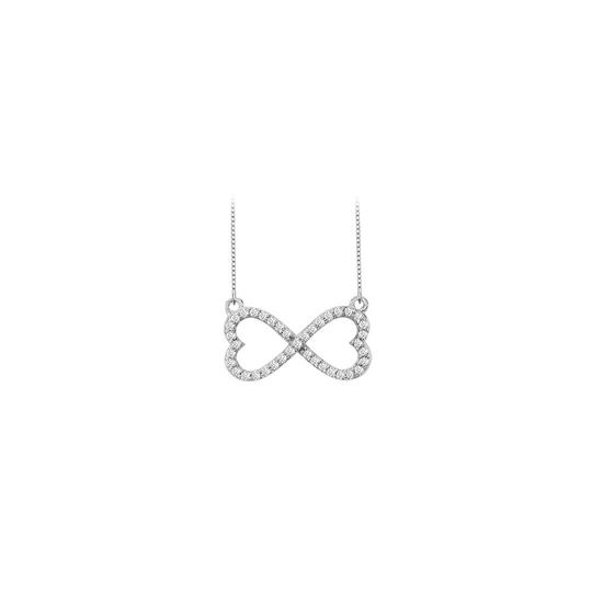 Marco B Infinity Diamond Double Heart Design Necklace 14K Gold Image 0