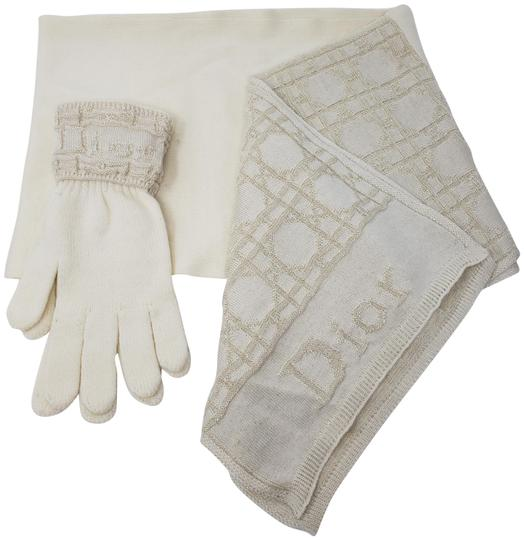 Preload https://img-static.tradesy.com/item/26229415/dior-beige-metallic-gold-tone-creme-logo-knit-glove-set-scarfwrap-0-3-540-540.jpg
