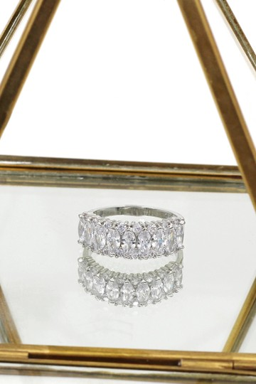 Ocean Fashion Sparkling candy crystal silver ring Image 4