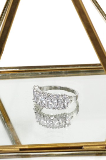 Ocean Fashion Sparkling candy crystal silver ring Image 5