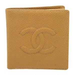 Chanel Chanel Beige Caviar Leather CC Compact Wallet