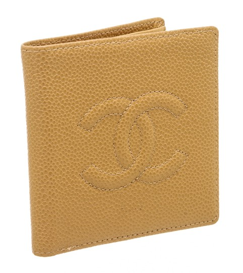 Chanel Chanel Beige Caviar Leather CC Compact Wallet Image 1