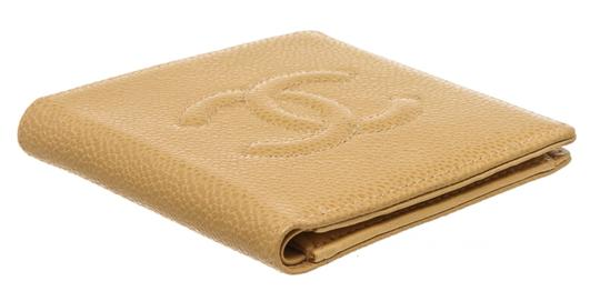 Chanel Chanel Beige Caviar Leather CC Compact Wallet Image 3