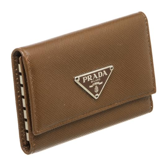 Prada Prada Brown Saffiano Leather 6 Key Holder Image 1