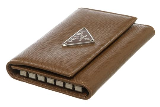 Prada Prada Brown Saffiano Leather 6 Key Holder Image 3