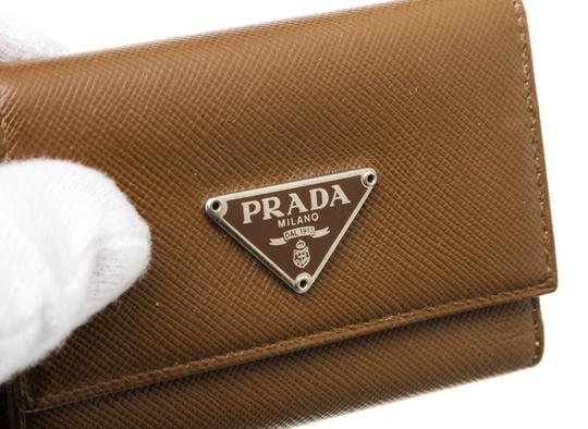 Prada Prada Brown Saffiano Leather 6 Key Holder Image 4