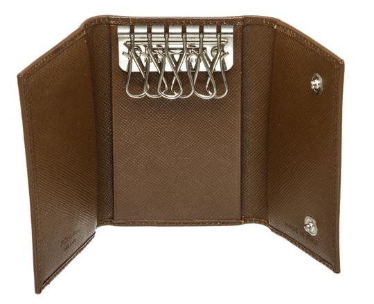 Prada Prada Brown Saffiano Leather 6 Key Holder Image 7