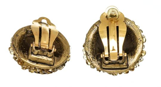 Chanel Chanel Gold CC Multi-Stone Clip-On Earrings Image 1