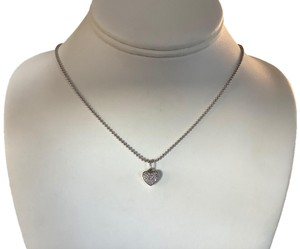 """Independant 18"""" Sterling Silver Ball Chain and Sterling Silver Diamond Pave Heart Pendant"""