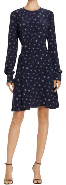 Item - Navy Lace -up Silk Short Casual Dress Size 4 (S)