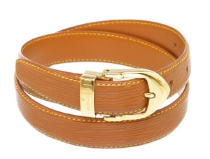 Louis Vuitton Louis Vuitton Brown Epi Leather Skinny Classique Belt 85
