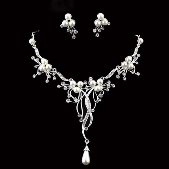 Other Pearl & Crystal Flower Statement Necklace Image 1