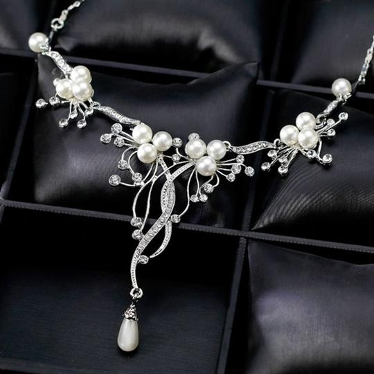 Other Pearl & Crystal Flower Statement Necklace Image 2