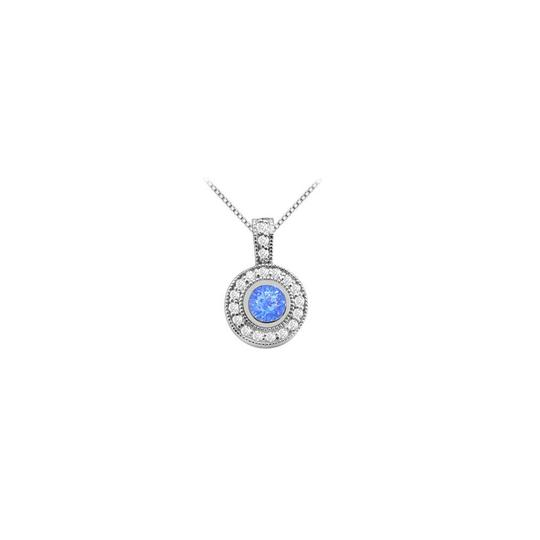 Preload https://img-static.tradesy.com/item/26229600/blue-bezel-set-round-created-sapphire-pendant-with-cubic-zirconia-in-white-necklace-0-0-540-540.jpg