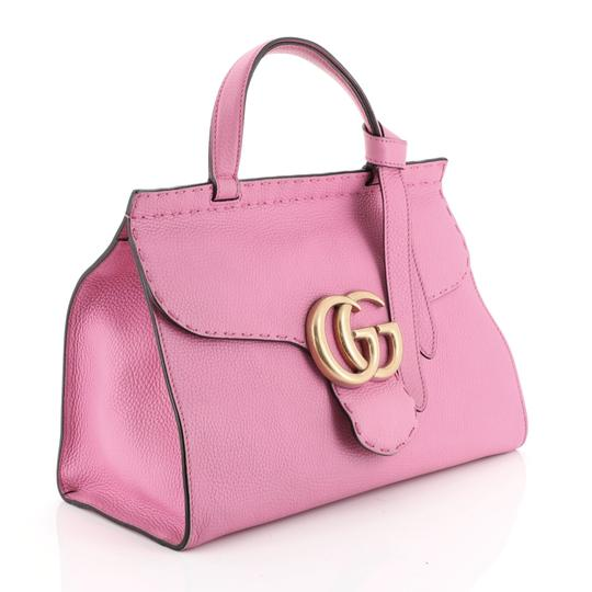 Gucci Top Handle Leather Satchel in Pink Image 1