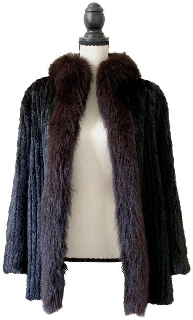 Item - Black Corded Mink with Fox Trim Tuxedo Collar Coat Size 8 (M)