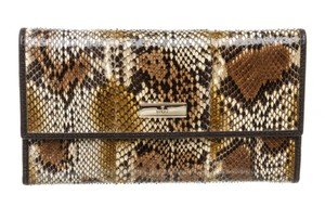 Gucci Gucci Brown Python Trifold Wallet