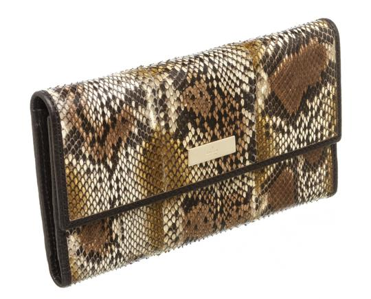 Gucci Gucci Brown Python Trifold Wallet Image 1