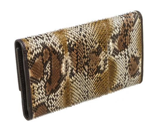 Gucci Gucci Brown Python Trifold Wallet Image 2