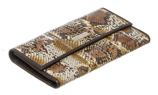 Gucci Gucci Brown Python Trifold Wallet Image 3