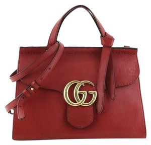 Gucci Handle Leather Satchel in Red