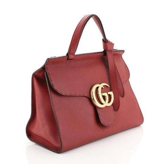 Gucci Handle Leather Satchel in Red Image 1